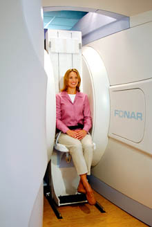 Woman in the FONAR Stand-Up MRI